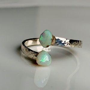 Twin Raw Ethiopian Opal Adjustable Ring 925SS
